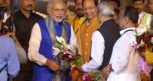 Narendra Modi arrives in Odisha