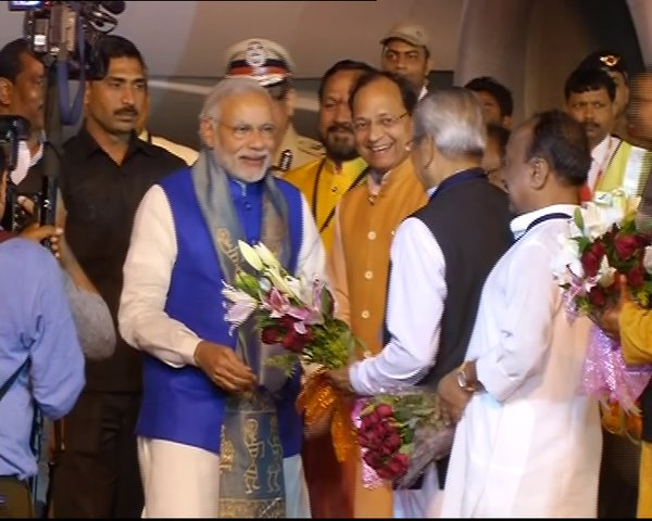 Narendra Modi arrives in Odisha