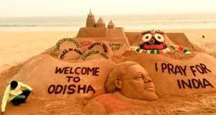 Sudarsan welcomes Narendra Modi to Odisha through sand art