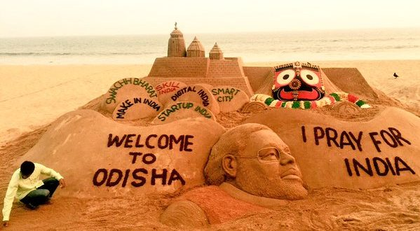 Sudarsan welcomes Narendra Modi to Odisha through sand art