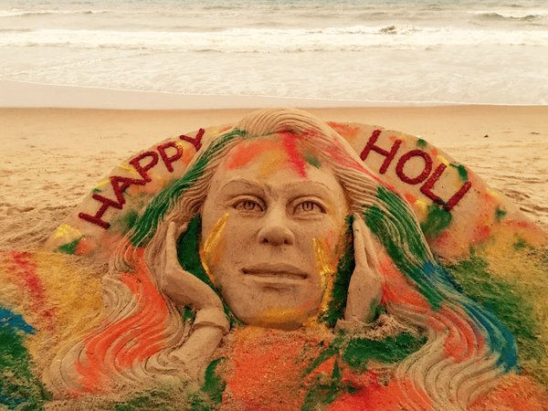 Holi Sand art by Sudarsan Pattnaik