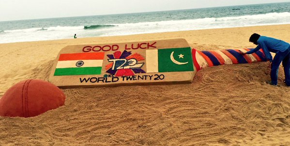 Sudarsan Creates Sand Sculpture Ahead Of India-Pakistan Match