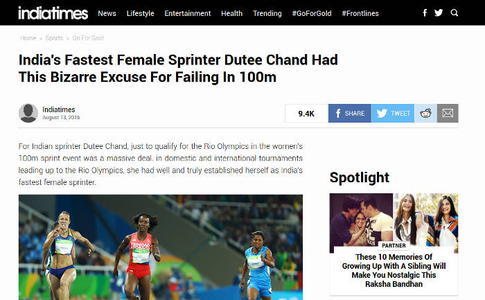 Dutee Chand To Indiatimes: Don't Misinterpret My Message