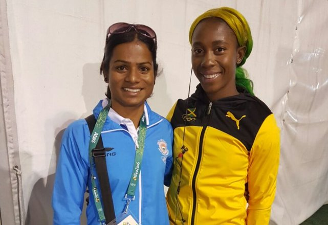 Dutee with Elaine Thompson, 100m gold medalist