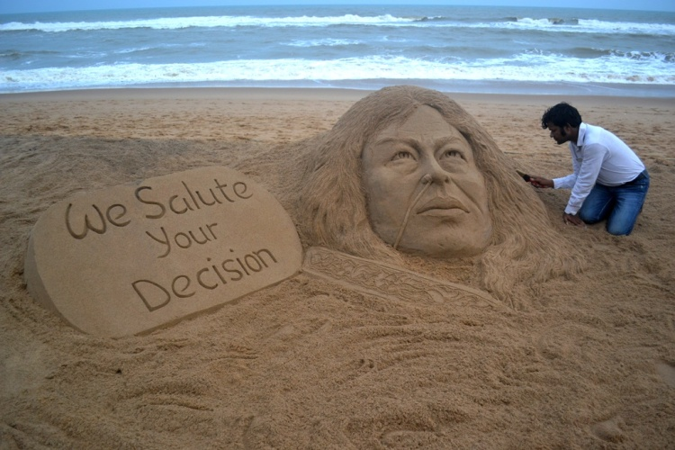 Sudarsan Creates Sand Art On 'Iron Lady' Irom Chanu Sharmila