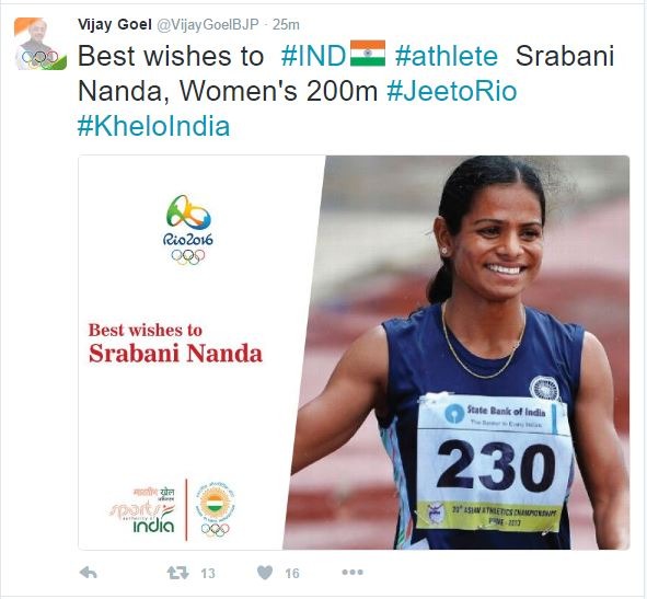 India Sports Minister Wishes Srabani With Dutee's Image!