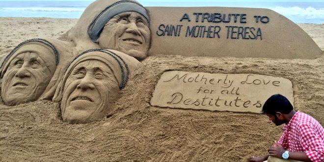 Sudarsan Pays Tribute To Mother Teresa Through Sand Art