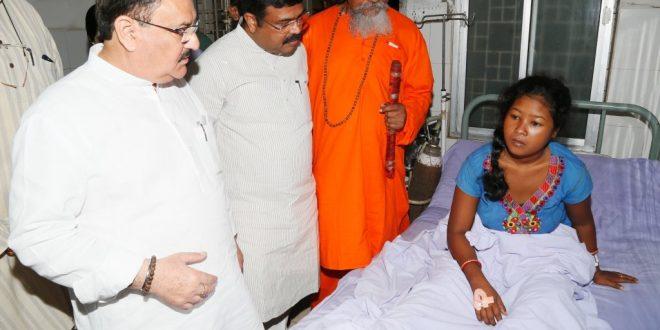 JP Nadda meets SUM hospital survivors