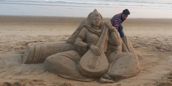 Manas Sahoo creates sand art of Devi Saraswati