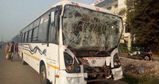 School picnic bus hit truck
