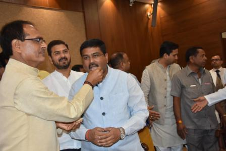 Dharmendra Pradhan files nomination paper for Rajya Sabha from MP