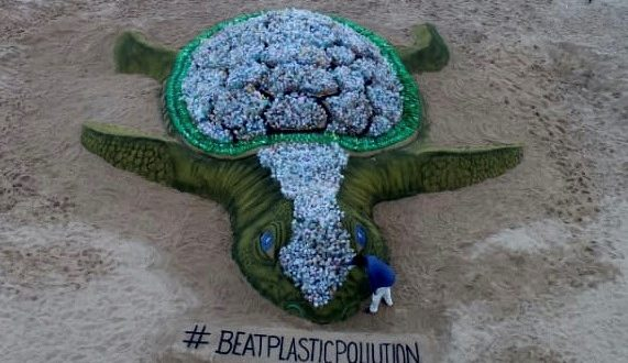 Biggest sand turtle with plastic bottles for World Environment Day