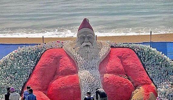 Sudarsan creates world's biggest Santa Clause on sand with plastic bottles