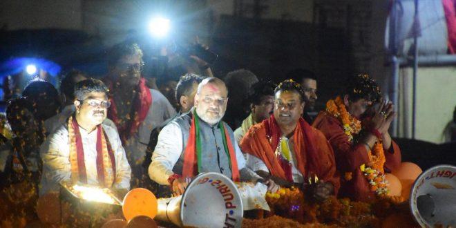 Amit Shah holds roadshow in Puri
