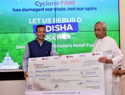JSPL contributes Rs 3 cr to CMRF for cyclone Fani restoration work