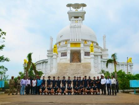Japan hockey team enjoy visit to Dhauli Shanti Stupa