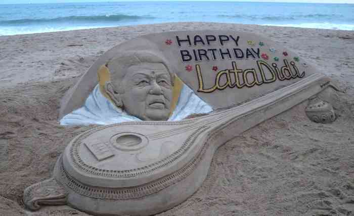 20 feet long sandy Bina on Lata Mangeshkar's birthday