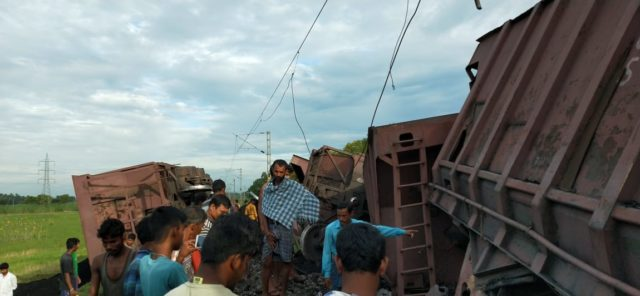 Eight wagons of a goods train derailed on Dhamra Port railway line