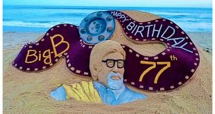Sudarsan creates sand art on Amitabh Bachchan's 77th birthday