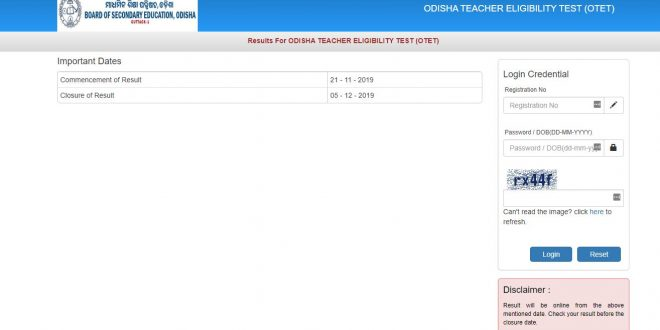 OTET results declared @ bseodisha.ac.in