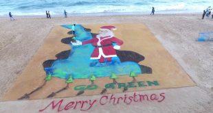 sand Santa Clause on Christmas