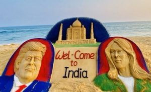 Sand arts welcome US President Donald Trump, Melania Trump