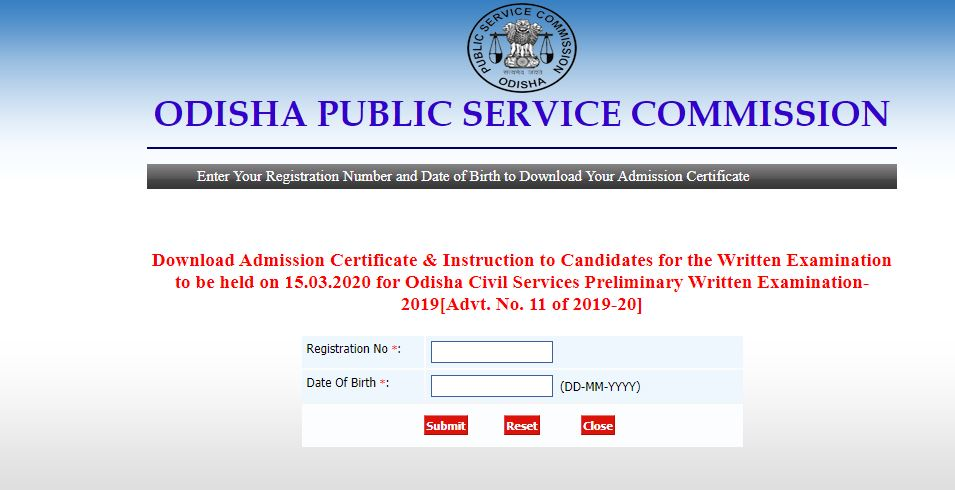 Civil Services prelims exam 2019 admit card