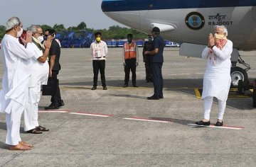 PM Modi conducts aerial survey of cyclone Amphan affected Odisha