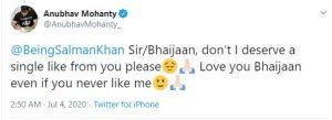 BJD MP Anubhav begs for 'like' from Salman