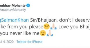 BJD MP Anubhav begs for 'like' from Salman