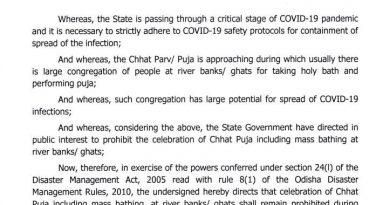 Odisha govt prohibits Chhat Puja
