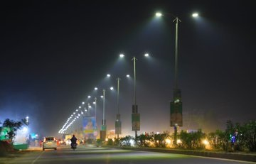 LED street lights on Cuttack-Puri Bypass Road