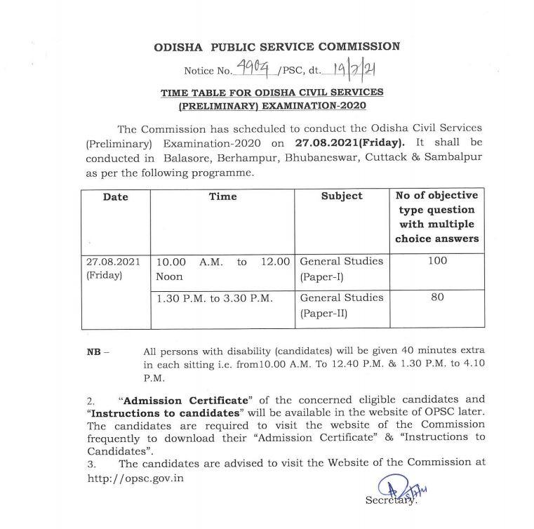 Odisha Civil Services (Prelim) Exam-2020