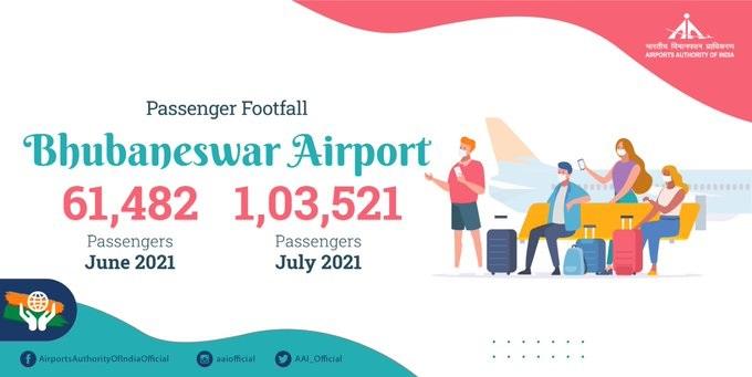 Bhubaneswar airport serves over 1 lakh passengers
